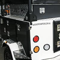 The HKC-3600 X camper trailer has hard-wearing checkerplate aluminium trim