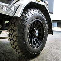 The HKC-4000 X camper trailer comes with premium black alloy wheels